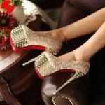 ince topuklu taşlı bayan ayakkabı