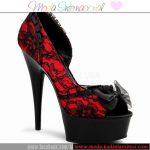 kırmızı dantel ayakkabı modeli