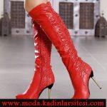 kırmızı deri çizme modeli