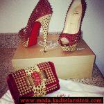 kırmızı krem ayakkabı çanta modelii
