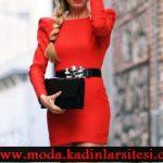 kırmızı sade elbise modeli
