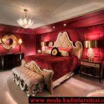kırmızı yatak odası modeli
