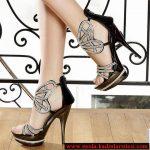 kelebek figürlü taşlı ayakkabı modeli
