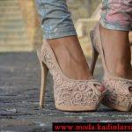krem dantelli ayakkabı modeli