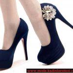 lacivert kadife ayakkabı modelil