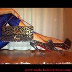 leopar desenli ayakkabı çanta modeli