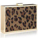 leopar desenli gece çantası modeli