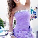 lila drapeli gece elbise modeli
