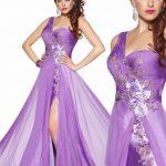 lila tek kol dekolteli uzun abiye elbiseler