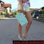 mavi ayakkabı çanta modeli