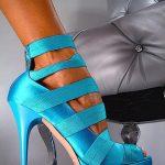 mavi bantlı saten ayakkabı modeli