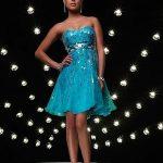 mavi payetli mini gece elbise modeli