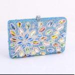 mavi renkli taşlı gece çantası modeli