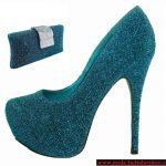 mavi simli ayakkabı çanta modeli