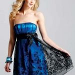 mavi siyah dantelli mini gece elbise modeli