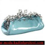 mavi taşlı gece çantası modeli