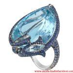 mavi taşlı su damlası yüzük modeli
