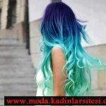 mavi yeşil saç modeli