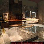 modern mermer detaylı banyo modeli