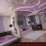mor yatak odası modeli