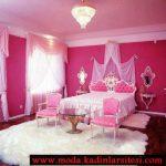 pembe beyaz yatak odası modeli