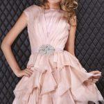 pembe drapeli gece elbise modeli