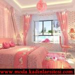 pembe puantiyeli yatak odası modeli