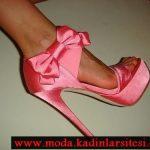 pembe saten ayakkabı modeli