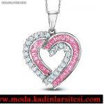 pembe taşlı kalpli kolye ucu modeli