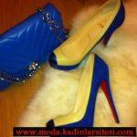 sarı lacivert ayakkabı çanta modeli