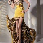 sarı leopar desenli abiye modeli