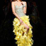 sarı ruffle abiye modeli