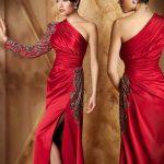 saten kırmızı tek kol yırtmaçlı kadın kıyafetleri en güzel