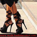 siyah şifon ayakkabı modeli