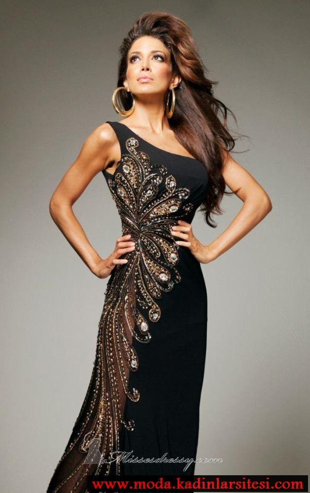 6259ee10cd36f siyah asimetrik yaka abiye modeli – moda bayan giyim kadın elbise ...