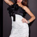 siyah beyaz gece elbise modeli