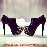 siyah deri zımbalı bot modeli