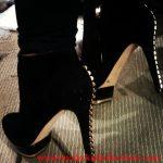 siyah kadife zımbalı bot modeli