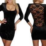 siyah sırtı tül dekolteli mini elbise modelleri