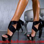 siyah saten bağlamalı ayakkabı modeli