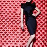 siyah taş işlemeli elbise modeli