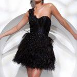 siyah tek omuz gece elbise modeli