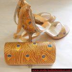 tüy detaylı ayakkabı çanta modeli