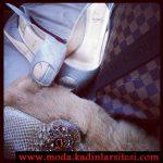 taşlı ayakkabı çanta modeli
