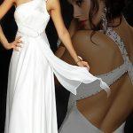 tek omuz beyaz sırt dekolteli uzun abiye gece elbisesi