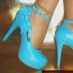 turkuaz fiyonk detaylı ayakkabı modeli