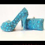 turkuaz taşlı ayakkabı çanta modeli