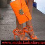 turuncu ayakkabı çanta modeli
