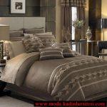 vizon rengi yatak örtüsü modeli