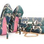 yılan derisi bayan ayakkabı çanta kombini